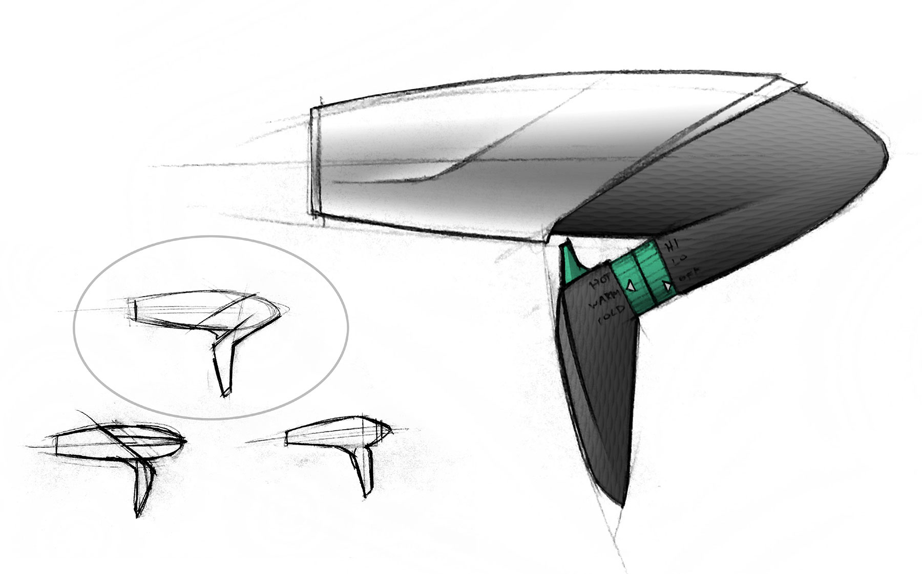 Gust Hairdryer Concept Sketches Courana